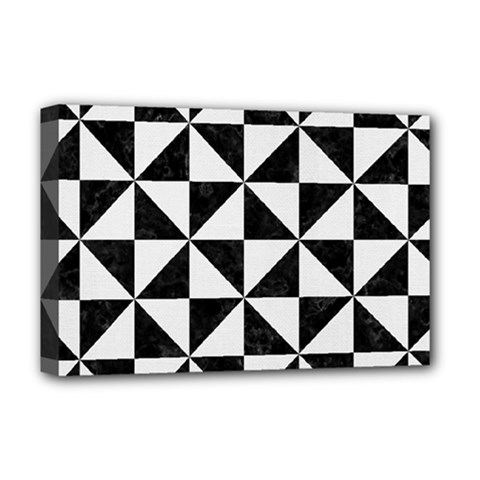 Triangle1 Black Marble & White Linen Deluxe Canvas 18  X 12
