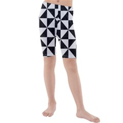 Triangle1 Black Marble & White Linen Kids  Mid Length Swim Shorts