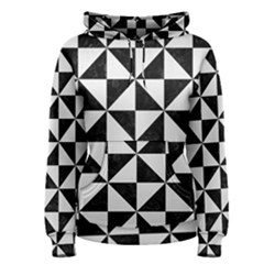 Triangle1 Black Marble & White Linen Women s Pullover Hoodie