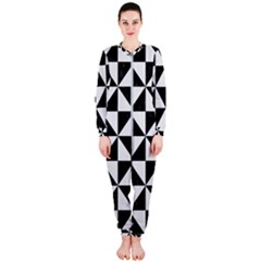 Triangle1 Black Marble & White Linen Onepiece Jumpsuit (ladies)