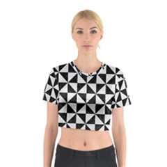 Triangle1 Black Marble & White Linen Cotton Crop Top