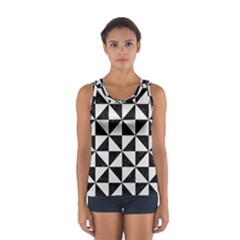 Triangle1 Black Marble & White Linen Sport Tank Top