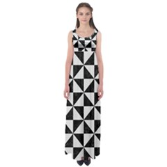 Triangle1 Black Marble & White Linen Empire Waist Maxi Dress