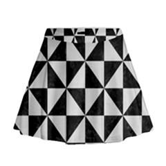 Triangle1 Black Marble & White Linen Mini Flare Skirt