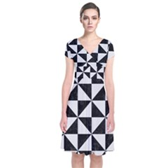 Triangle1 Black Marble & White Linen Short Sleeve Front Wrap Dress