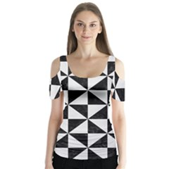 Triangle1 Black Marble & White Linen Butterfly Sleeve Cutout Tee