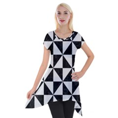 Triangle1 Black Marble & White Linen Short Sleeve Side Drop Tunic