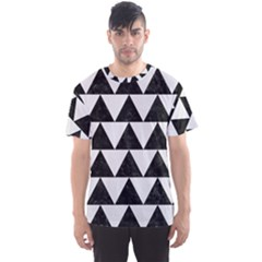 Triangle2 Black Marble & White Linen Men s Sports Mesh Tee