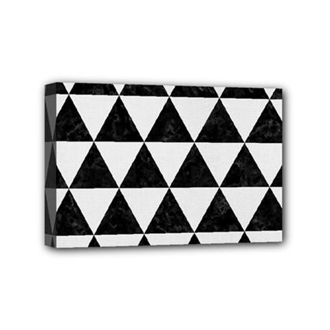 Triangle3 Black Marble & White Linen Mini Canvas 6  X 4