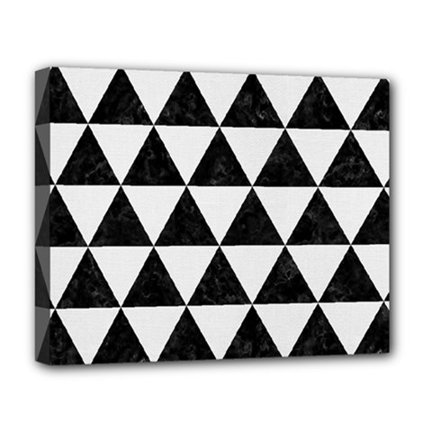 Triangle3 Black Marble & White Linen Deluxe Canvas 20  X 16