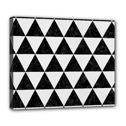 Triangle3 Black Marble & White Linen Deluxe Canvas 24  X 20