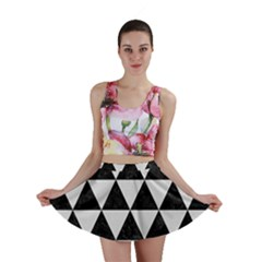 Triangle3 Black Marble & White Linen Mini Skirt