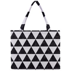Triangle3 Black Marble & White Linen Mini Tote Bag