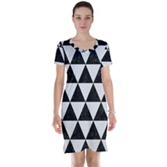 Triangle3 Black Marble & White Linen Short Sleeve Nightdress