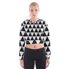 Triangle3 Black Marble & White Linen Cropped Sweatshirt