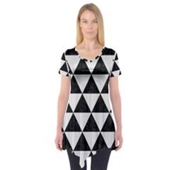 Triangle3 Black Marble & White Linen Short Sleeve Tunic