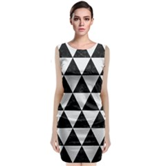 Triangle3 Black Marble & White Linen Classic Sleeveless Midi Dress