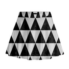 Triangle3 Black Marble & White Linen Mini Flare Skirt