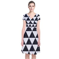 Triangle3 Black Marble & White Linen Short Sleeve Front Wrap Dress