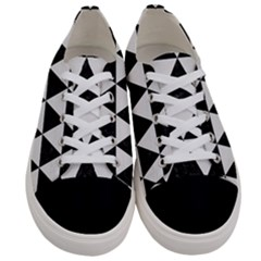 Triangle3 Black Marble & White Linen Women s Low Top Canvas Sneakers