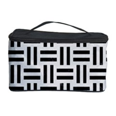 Woven1 Black Marble & White Linen Cosmetic Storage Case