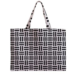 Woven1 Black Marble & White Linen Zipper Mini Tote Bag