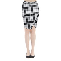 Woven1 Black Marble & White Linen Midi Wrap Pencil Skirt