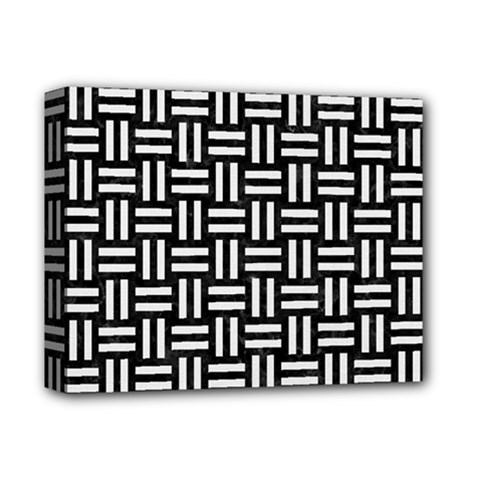 Woven1 Black Marble & White Linen (r) Deluxe Canvas 14  X 11