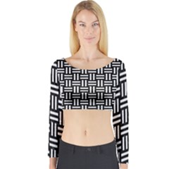 Woven1 Black Marble & White Linen (r) Long Sleeve Crop Top