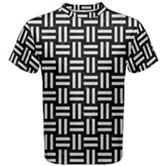 Woven1 Black Marble & White Linen (r) Men s Cotton Tee