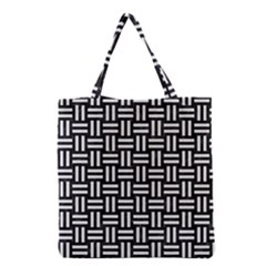 Woven1 Black Marble & White Linen (r) Grocery Tote Bag