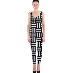 Woven1 Black Marble & White Linen (r) Onepiece Catsuit
