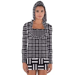 Woven1 Black Marble & White Linen (r) Long Sleeve Hooded T Shirt
