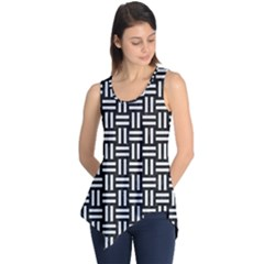 Woven1 Black Marble & White Linen (r) Sleeveless Tunic