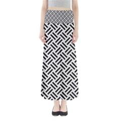 Woven2 Black Marble & White Linen Full Length Maxi Skirt