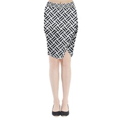 Woven2 Black Marble & White Linen Midi Wrap Pencil Skirt