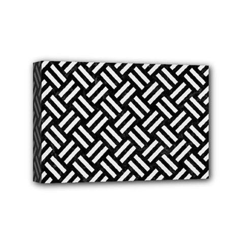 Woven2 Black Marble & White Linen (r) Mini Canvas 6  X 4