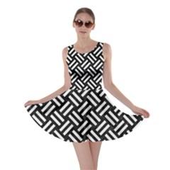 Woven2 Black Marble & White Linen (r) Skater Dress