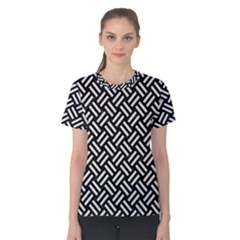 Woven2 Black Marble & White Linen (r) Women s Cotton Tee