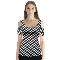 Woven2 Black Marble & White Linen (r) Butterfly Sleeve Cutout Tee