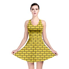 Brick1 Black Marble & Yellow Colored Pencil Reversible Skater Dress
