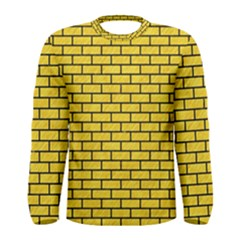 Brick1 Black Marble & Yellow Colored Pencil Men s Long Sleeve Tee
