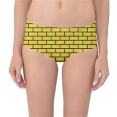 Brick1 Black Marble & Yellow Colored Pencil Mid Waist Bikini Bottoms