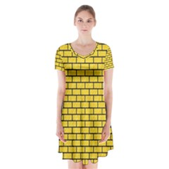 Brick1 Black Marble & Yellow Colored Pencil Short Sleeve V Neck Flare Dress