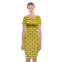 Brick1 Black Marble & Yellow Colored Pencil Classic Short Sleeve Midi Dress