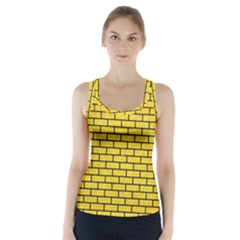 Brick1 Black Marble & Yellow Colored Pencil Racer Back Sports Top