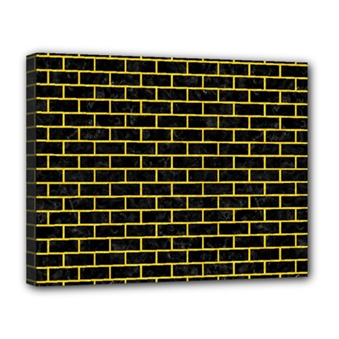 Brick1 Black Marble & Yellow Colored Pencil (r) Canvas 14  X 11