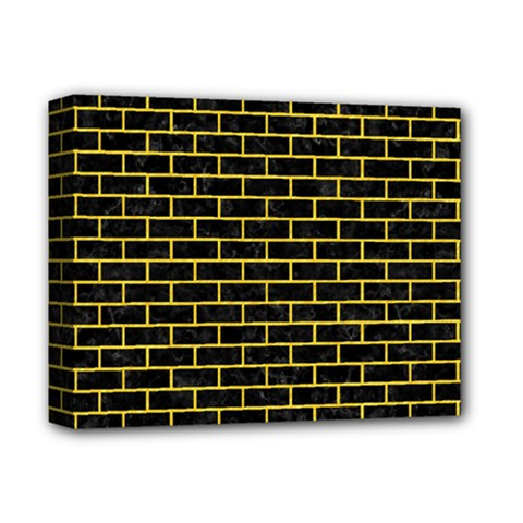 Brick1 Black Marble & Yellow Colored Pencil (r) Deluxe Canvas 14  X 11