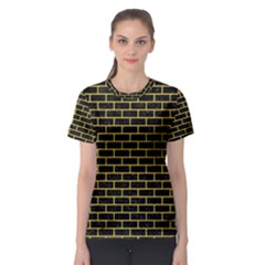 Brick1 Black Marble & Yellow Colored Pencil (r) Women s Sport Mesh Tee