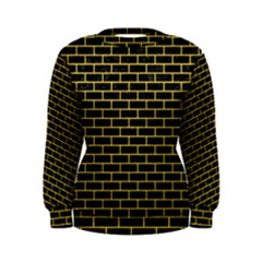 Brick1 Black Marble & Yellow Colored Pencil (r) Women s Sweatshirt